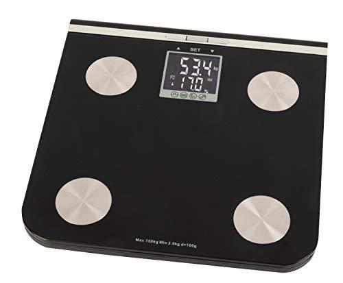 GRUNDIG Digitale Analyse-Waage| Personenwaage aus Glas mit LCD Anzeige | Speicher für bis zu 10 Nutzer |misst Gewicht, Körperfett Wassergehalt, Muskel- und Knochenmasse | BMI-Messung | bis 150 Kilo