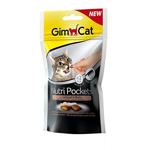 GimCat Nutri Pockets Aves de Corral y biotina – Aperitivo crujiente para Gatos con Relleno cremoso e Ingredientes funcionales – 3 Bolsas (3 x 60 g)