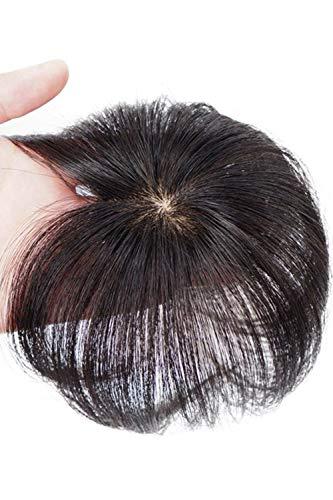 HIYE ヘアピース 人毛100% 頭頂部 ポイントウィッグ リアル人工頭皮 つむじカバー つむじリアル 部分ウィッグ 薄毛隠し ボリュームアップ 増毛 増量 ウィッグ ショート トップピース 男女兼用 自然 超軽量 (栗色)