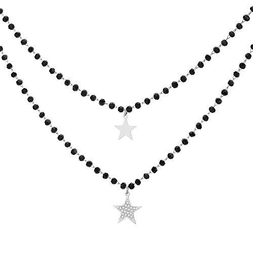 Collana con ciondolo a forma di cuore e stella, in acciaio INOX placcato oro rosa/argento, con cristalli neri