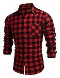 JINIDU Camiseta de manga larga con botones a cuadros para hombre, de franela, con bolsillo., rojo, M