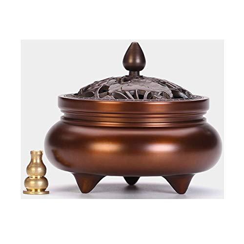 De Cobre Puro de Tres Patas Quemador de Incienso Titular/Incienso Titular Cono Interior aromaterapia Estufa Yoga Meditación Decoración (Color : Brown)