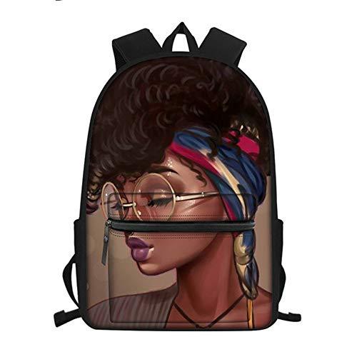 fhdc Sac à Dos Afro Filles Noir Femmes Art Cartables De Mode Adolescents Sacs D'École Sacs À Dos Imperméables Livres pour Les Enfants Hmc1710Z58