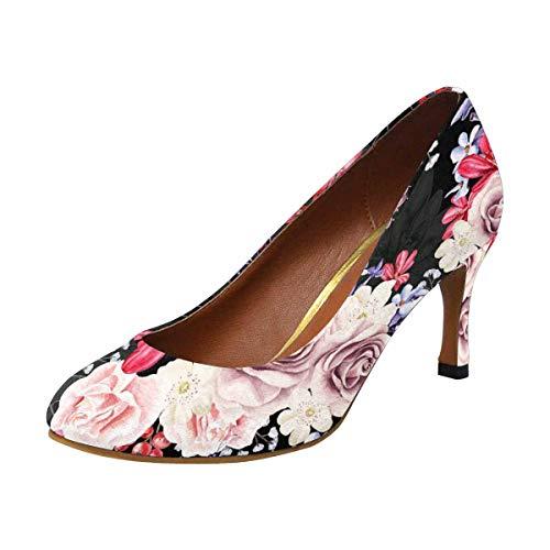 InterestPrint Womens High Heels Pull On Fashion Dress Pump Peony Flowers, Rose, Lavender and Berries, Blackberries 8 B(M) US