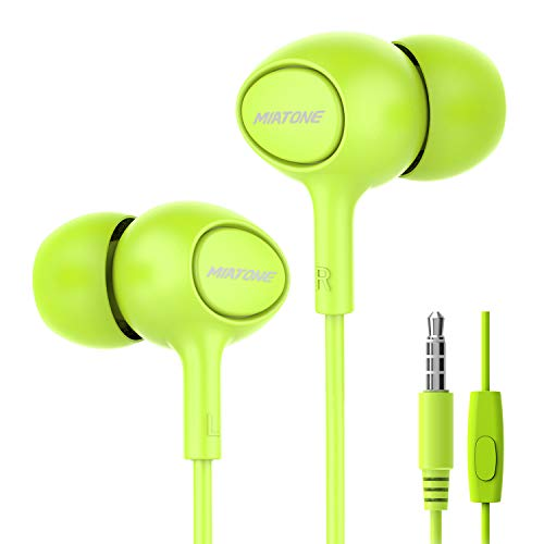 Earbuds, MIATONE Wired in- Ear Earbuds with Microphone, Dynamic Crystal Clear Sound Ergonomic Ear Buds Earphones Headphones for iPhone. iPad, Android, BlackBerry - Green