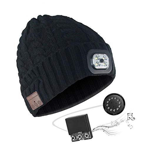 Bluetooth Hut Mütze für Herren Geschenke, Musik Hut mit kabellosem Bluetooth V5.0 + Hut Musik Abnehmbare Stereo Lautsprecher mit wiederaufladbarem USB und LED Licht für Winter Fitness Outdoor Sport