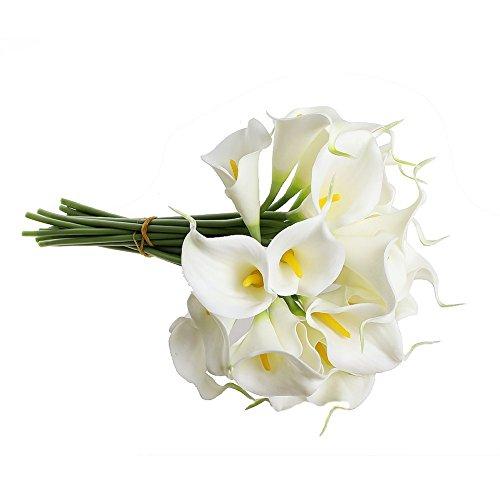 TOOGOO(R) Ramo nupcial de lirio de cala artificial del latex del tacto real con 20 cabezas de flor para la boda