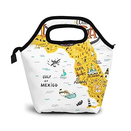 Bolsa Térmica Comida Bolsas De Almuerzo para Mujeres Hombres Niñas Niños Bolsa Isotérmica De Almuerzo Florida Mapa Turístico