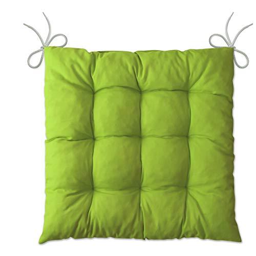 LILENO HOME 1er Set Stuhlkissen Apfelgrün (40x40x6 cm) - Sitzkissen für Gartenstuhl, Küche oder Esszimmerstuhl - Bequeme UV-beständige Indoor u. Outdoor Stuhlauflage als Stuhl Kissen