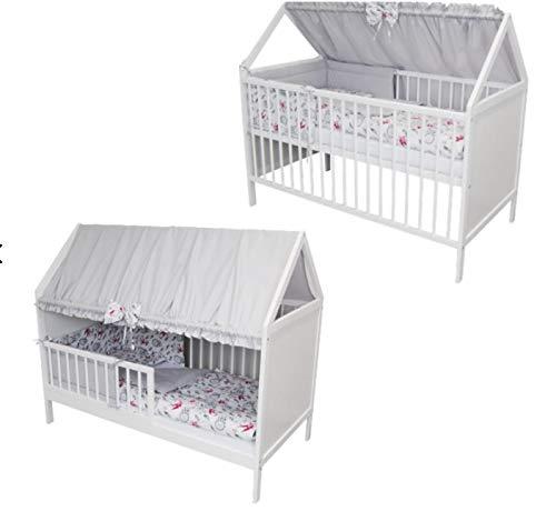 Babybett Kinderbett Kinderhaus Jugendbett Überdachungen Bett Moskitonetze 140x70 9 teiligen Komplett (grau-weiß)