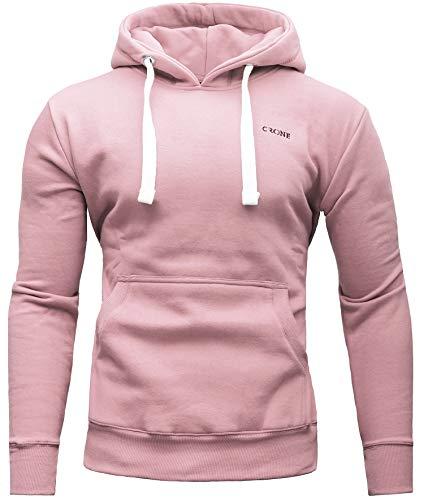 Crone Carlo Basic Herren Fleece-Hoodie Kapuzenpullover aus 100% Baumwolle mit Logo (M, Rosa)