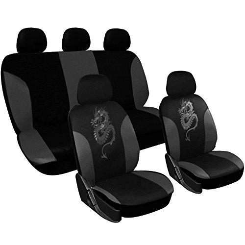 WOLTU AS7211 Universal Sitzbezüge für Auto Sitzbezug Schonbezüge Autoauflage Schoner, Drache Stickerei, schwarz-grau