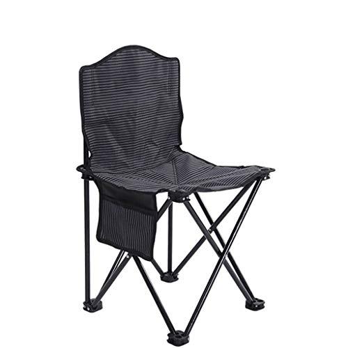 DJX Silla Plegable portátil, Silla de Pesca, Silla cómoda al Aire Libre, Silla de Camping con Respaldo (con Bolsa de Almacenamiento) (Color : Striped Black, tamaño : Pequeño)