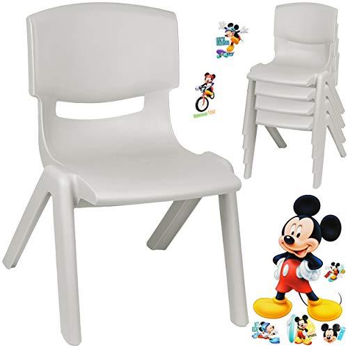 alles-meine.de GmbH Kinderstuhl / Stuhl - Motivwahl - grau - Silber + Sticker - Disney Mickey Mouse - inkl. Name - Plastik - bis 100 kg belastbar / kippsicher - für INNEN & AUßEN..