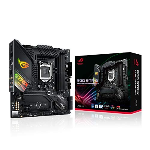 ASUS ROG Strix Z490-G Gaming (Wi-Fi) Intel Z490 LGA 1200 micro ATX motherboard (14 Power stages, DDR4 4600, WiFi 6, Intel 2.5 Gb Ethernet, USB 3.2 Gen 2, SATA and AURA Sync)