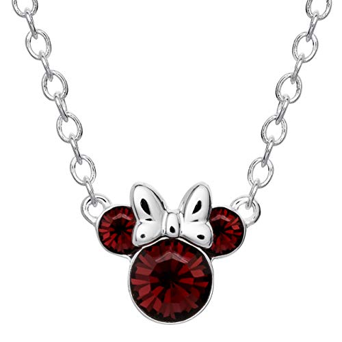 Disney Minnie Mouse Silver Plated Crystal Birthstone Necklace 16'
