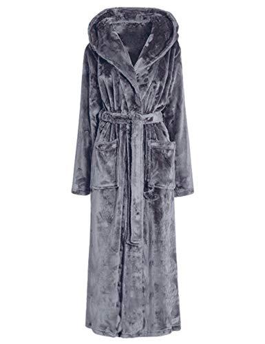 MAYIMY Camisón de franela mujer otoño e invierno pijamas gruesos pareja albornoz unisex cinturón con capucha extra largo