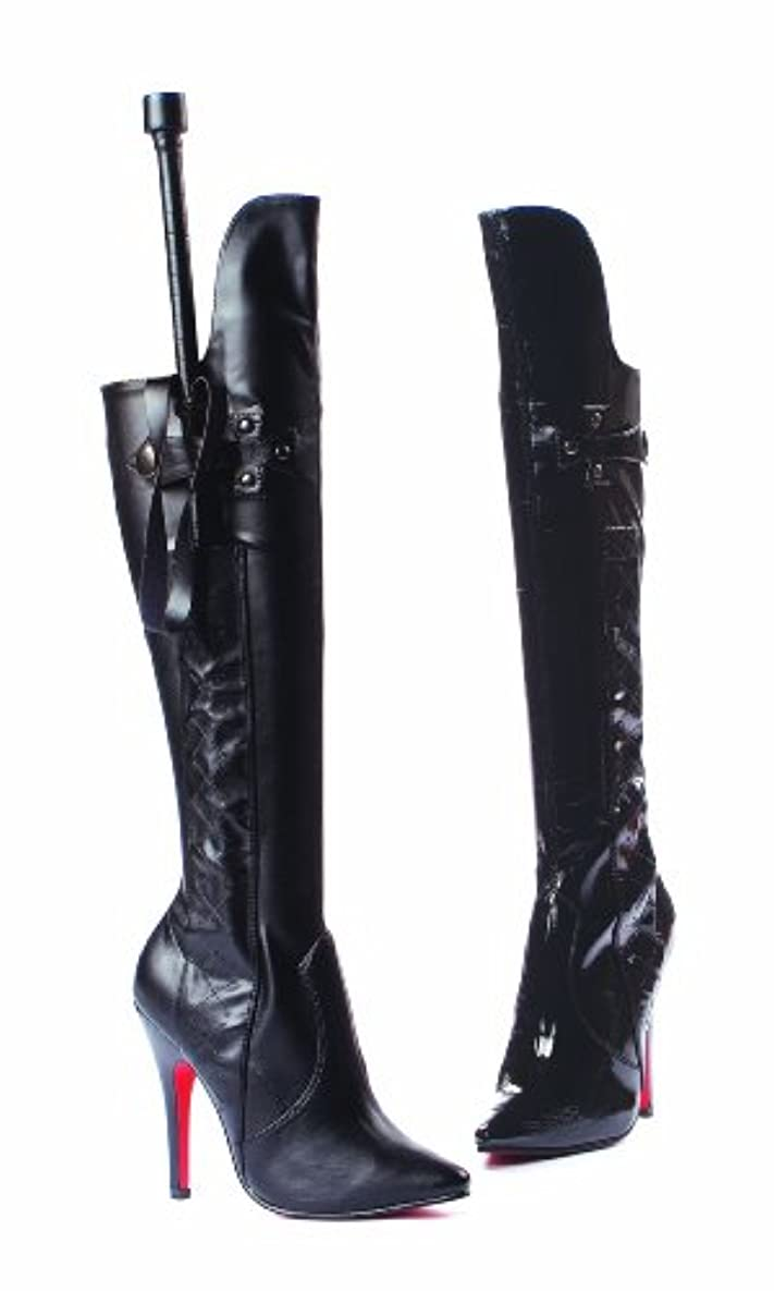 民間やさしく連続的Ellie Shoes E-511-Sadie, 5 Inch Heel Knee Boot Black Patent 12