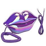 Teléfono con cable: teléfono creativo con labios morados, teléfono con electrochapado, teléfono...