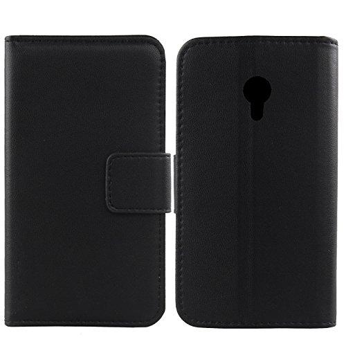 """Gukas Design Veritable Cuir Etui pour Logicom L-ement 403 4"""" Housse Coque Premium Case Cover Flip Protecteur Portefeuille Genuine Leather Wallet (Noir)"""