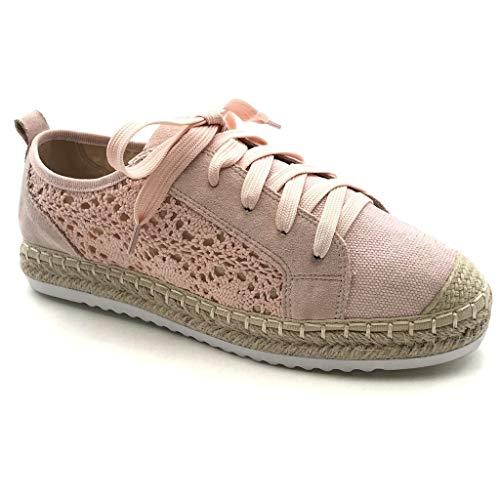 Angkorly - Damen Schuhe Espadrilles Sneaker - BCBG - romantisch - Flache - Spitze - Seil - mit Stroh Flache Ferse 2 cm - Rosa LX192 T 38