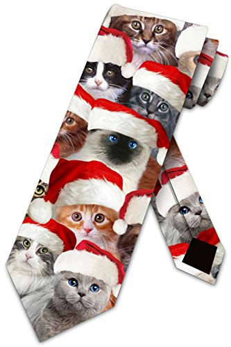 Cat Ties Mens Kitty Christmas Neckties Santa Cats by Three Rooker