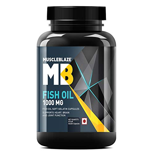 MuscleBlaze Omega 3 Fish Oil 1000 mg with 180 mg EPA and 120 mg DHA (Unflavoured, 90 Capsules)