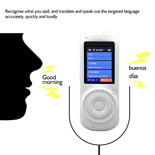 Aibecy Smart Language Translator Real-time Multi Speech/Text Translation Device with APP for Business Travel Shopping English Chinese French Spanish Japanese Arabic (White)