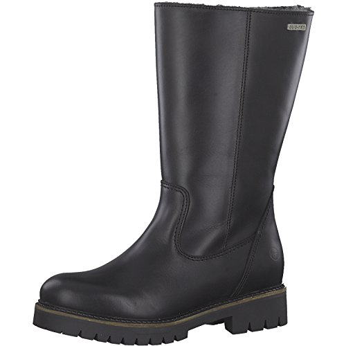 Tamaris Damen Stiefel 26492-21,Frauen Boots,Lederstiefel,Langschaftstiefel,Reißverschluss,Blockabsatz 3.5cm,Black,EU 39