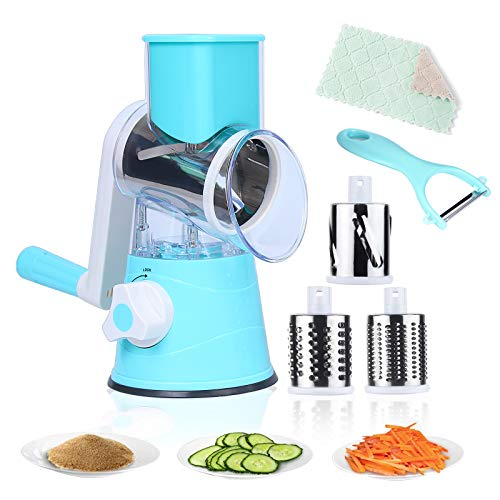 Rotary Cheese Slicer, Round Mandoline Slicer with 3 Drum-Shaped Stainless Steel Blades, Vegetable Slicer for Potato, Onion, Cucumber and Carrot Salad machine Nut Grinder+1Vegetable Peeler+1Clean Mat