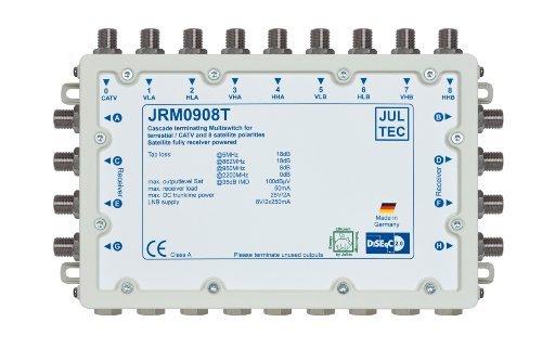 JULTEC JRM0908T 2 Satelliten Multischalter 9/8 für 8 Teilnehmer Receivergespeist ohne Strom/ Stromanschluss, Druckgussgehäuse, Neueste Generation