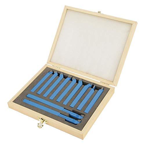 LANTRO JS - Utensili da Taglio per Tornio 11 pezzi, utensile per tornitura in metallo duro 10x10mm Utensile per tornitura saldatura con punta per metallo