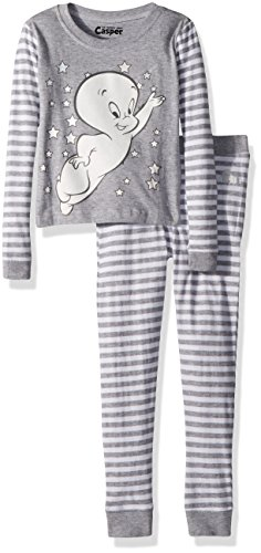 INTIMO Girls' Big Casper The Friendly Ghost Halloween Costume Pajama Set, Gray, 8