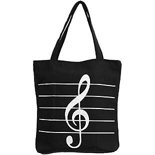 Music Notes Handbag Canvas Tote Bag Reusable Grocery Bag Shoulder Shopping Bag for Women Girls Gift (Black):Diet-beauty