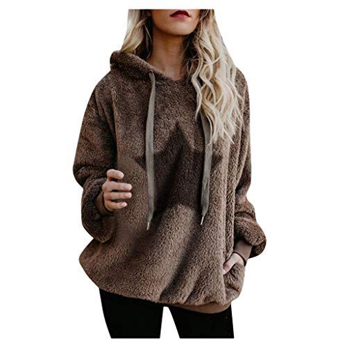 TUDUZ Damen Winter warme Parka Flauschige Mantel Fleece Fell Plüschjacke Winterjacke Sweatshirt Mantel (L, T-Khaki)