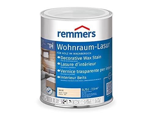 Remmers Wohnraum-Lasur weiß, 0,75 Liter, wasserbasierte Holzlasur innen, mit Naturharz und Leinöl, für Möbel, Böden, Innentüren und Treppen geeignet, mit Abperleffekt