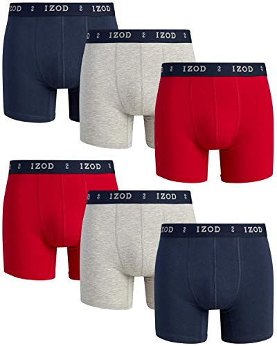 IZOD Men's Cotton Stretch Boxer Briefs with Comfort Pouch (6 Pack), Size Medium, Heather Grey/Dress Blues/Chili Pepper