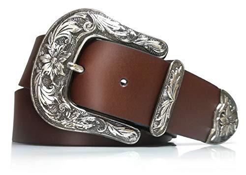 Cintura donna - Cowboy - Vera pelle - Moda vintage - Larghezza 4 cm - Retro - 40 mm - Western - Cowgirls - Fibbia vintage (Marrone, 80)