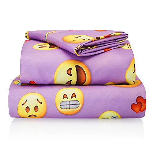 Chital Twin Bed Sheets for Girls | 3 Pc Colorful Kids Bedding Set | Purple Emoji Print | Durable Super-Soft, Double-Brushed Microfiber | 1 Flat & 1 Fitted Sheet, 1 Pillow Case | 15' Deep