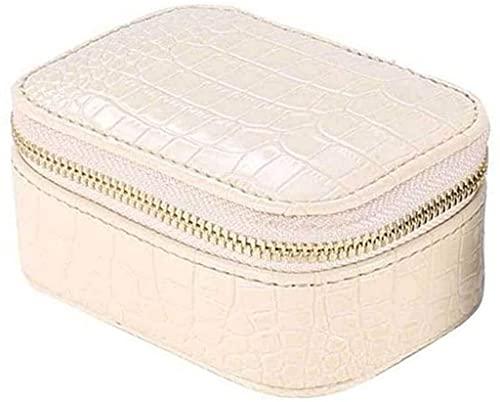J&X Box Faux PU Pendientes de Cuero Collar Pulsera Almacenamiento Europeo Estilo portátil Organizador de Viajes (Style : White)