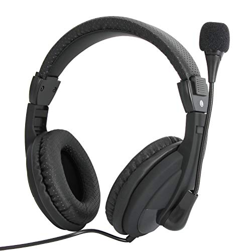 petit Casque micro filaire très léger et confortable Vcom, coussin d'oreille en mousse, téléphone / tablette / XBOX / PS4 / Gamer / ordinateur portable / bureau / chat / vacances / adolescent / adulte jack 3,5 mm (noir)