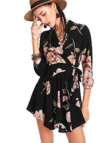 Dames zomerjurk met bloemenpatroon wikkeling kort boho jurken lange mouwen V-hals Fashion Completi A-lijn jurk vintage elegante strandjurk dresses voor vrouwen