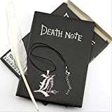 A5 Anime Death Note Notebook Set Leather Journal and Necklace Feather Pen Journal Death Note Pad for Gift D40