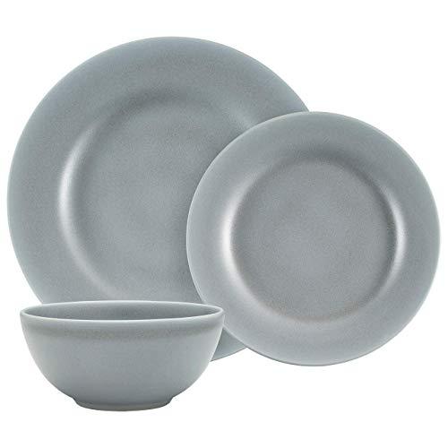 Amazon Brand – Stone & Beam Corwin Rustic Reactive-Glaze Stoneware 18-Piece Dinnerware Set, Service for 6, Blue Sand Matte