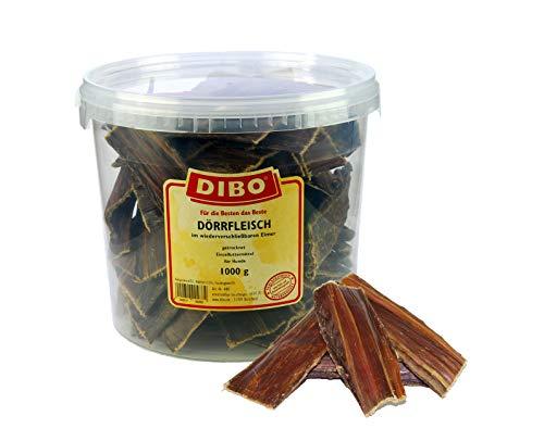 DIBO Dörrfleisch, 1.000g-Eimer, der kleine Naturkau-Snack oder Leckerli für Zwischendurch, Hundefutter, Qualitätskauartikel ohne Chemie von DIBO