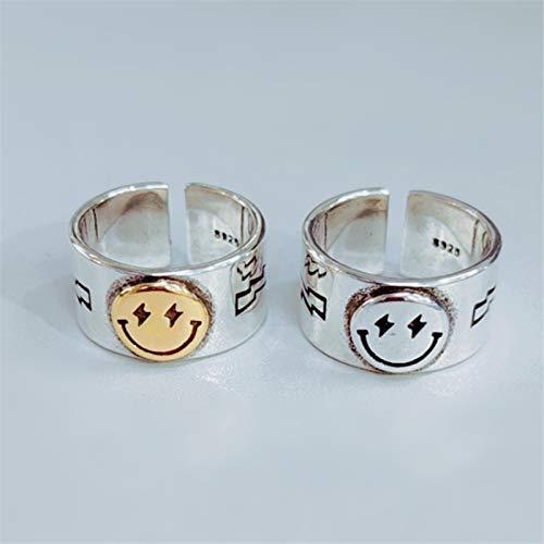 Wonderful Day Happy Smiley Face Lightning Stamp Tibetan Ring Big Large Retro Vintage Golden Gothic Women Jewelry Rings,Resizable,Golden
