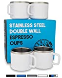 Stainless Steel Espresso Cups: Set of 4 White Double Wall Insulated 3 Ounce Small Metal Cups with Handle, Shatterproof, Demitasse, Keeps Espresso Hot