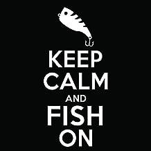 Keep Calm Fish Vinyl Decal Sticker | Cars Trucks Vans Windows Laptops Walls Cups | White | 5.5 X 3 Inches | KCD1849