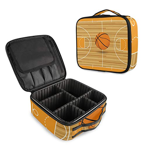 Trousse de Maquillage de Voyage en Tissu Oxford imperméable détachable Motif Champ de Basketball Orange