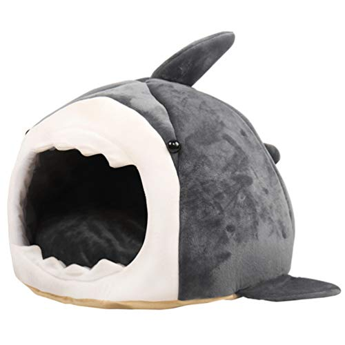POPETPOP Dog House Bed - Dog Shark Bed Washable Shark Dog Covered Cave House Warm Dog Bed